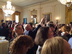Excited attendees crowded the East Wing