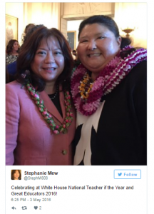 Networking with State of Hawaii Teacher of the Year Stephanie Mew