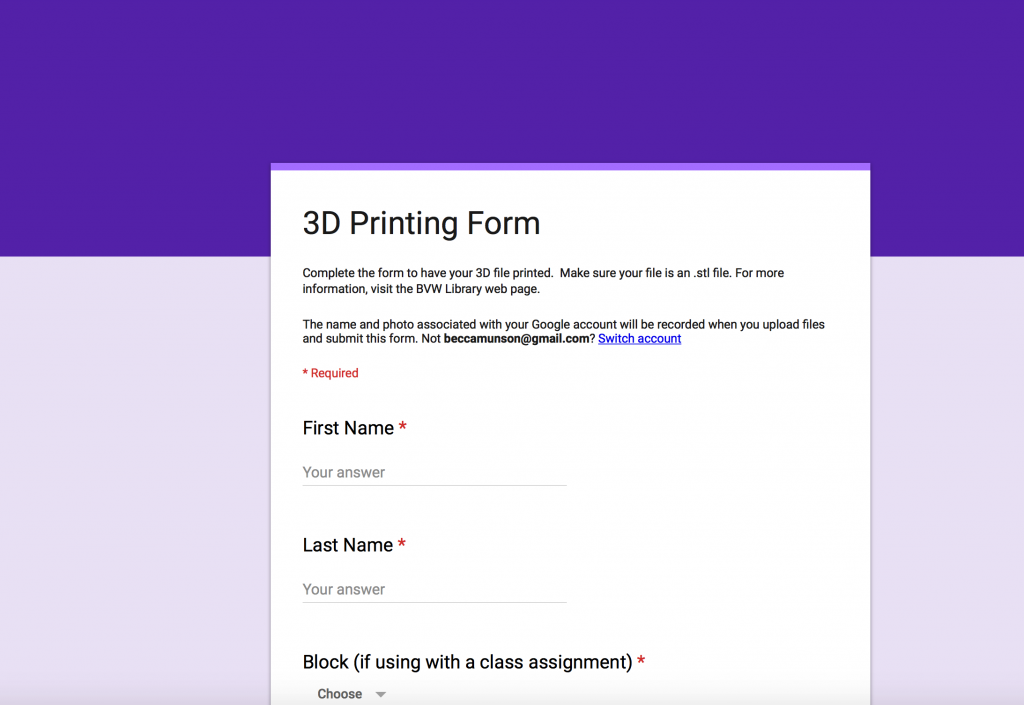 Google Form Example