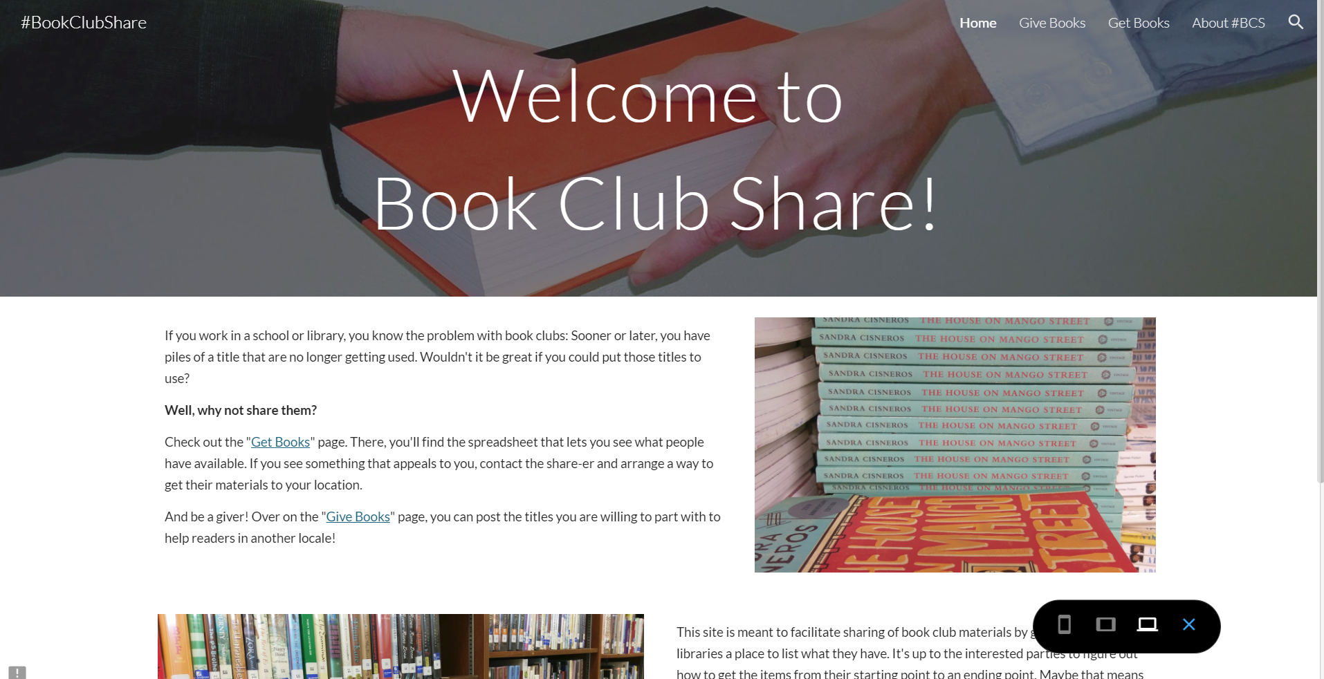 BookClubShare.com's Home page