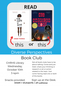 first promo flier for Diverse Perspectives Book Club