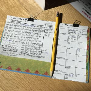 Data collection tools are pictured with a pencil, clipped to a decorative clipboard