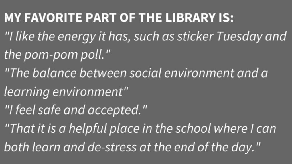 Narrative feedback from student survey about their favorite parts of the library.