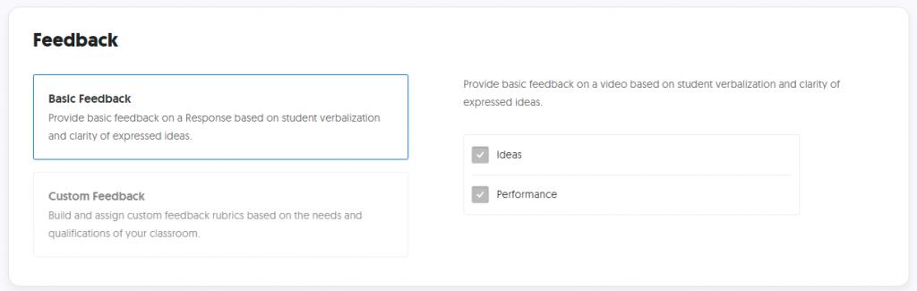 "Flipgrid's ""Feedback"" settings"