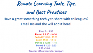Screenshot of the Remote Learning Resources and Best Practices document