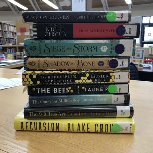 A teacher's book stack
