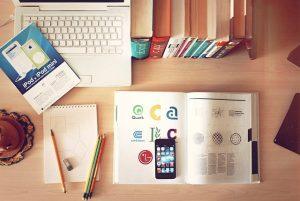 computer books at desk