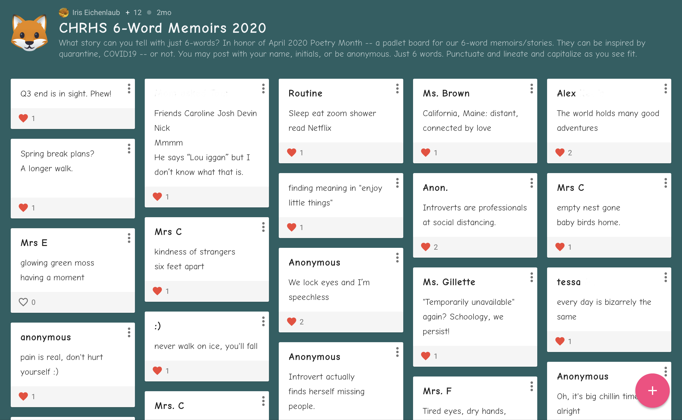 Padlet of 6-word memoirs and stories, a collaboration for virtual poetry month