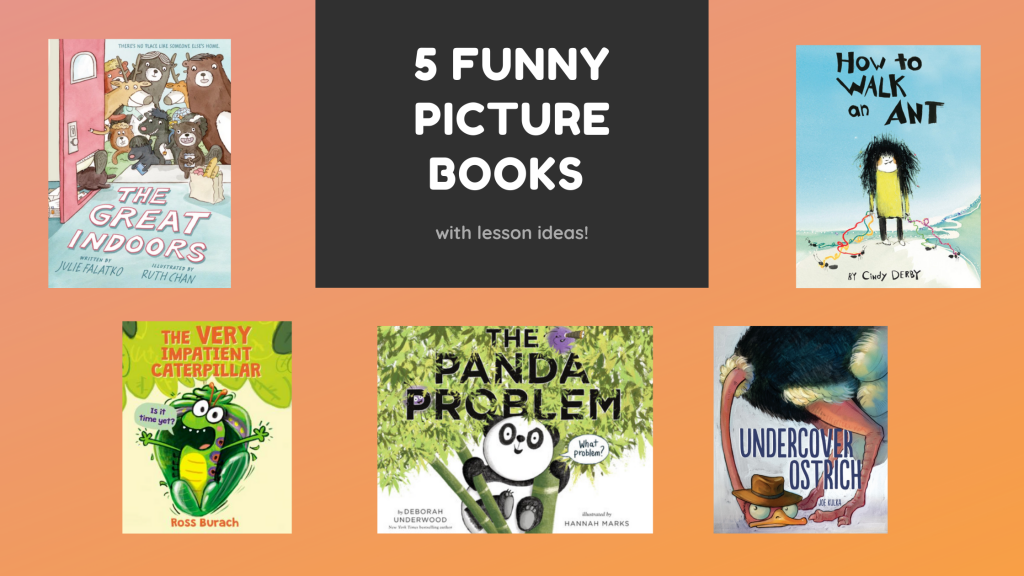 Promotional image featuring five picture books: Panda Problem, How to Walk an Ant, Undercover Ostrich, The Very Impatient Caterpillar and The Great Indoors.