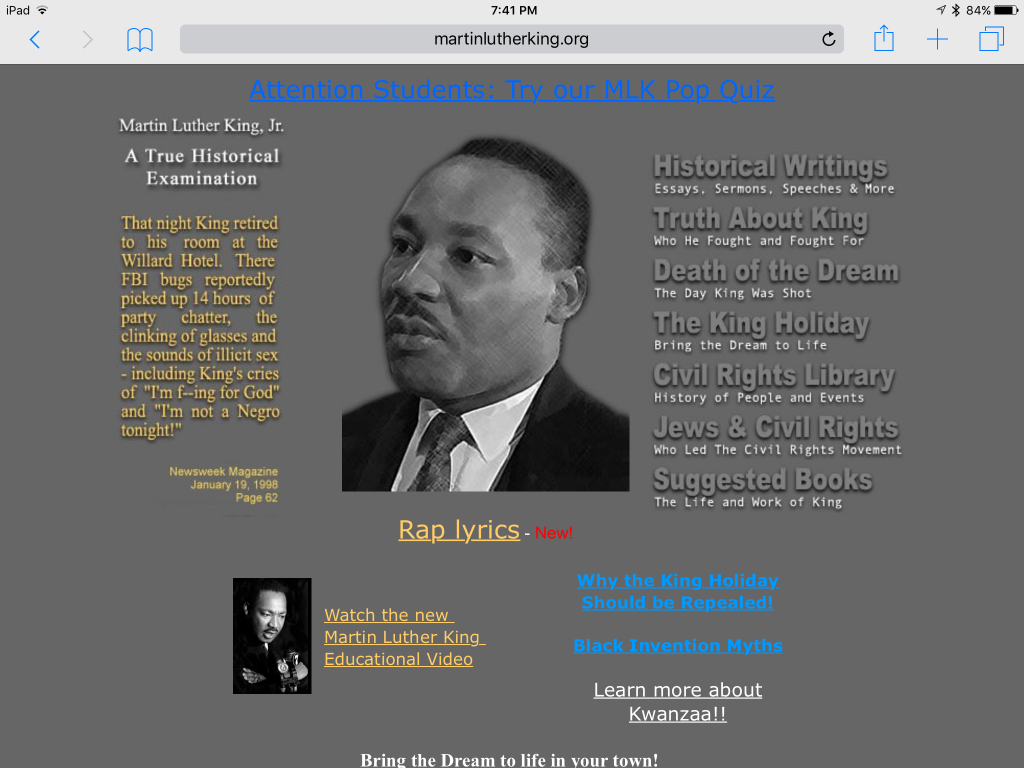 Screenshot of http://www.martinlutherking.org