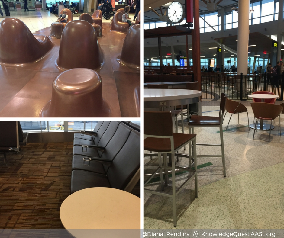 A variety of seating options at Edmonton International Airport