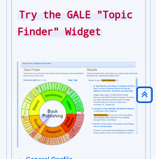 GALE topic finder screenshot