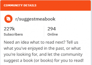 """Suggest Me A Book"" community details"