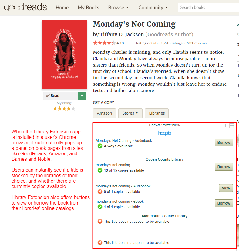 Screenshot: Library Extension running on GoodReads