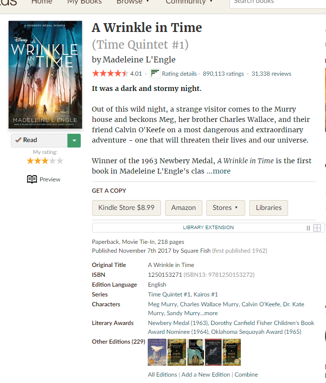 GoodReads book info for A Wrinkle in Time