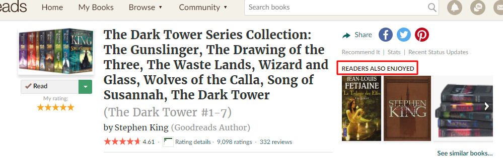 "GoodReads ""Readers Also Enjoyed"" suggestions"