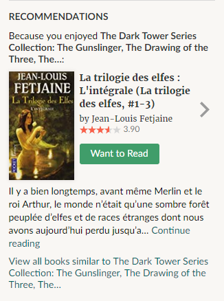 "GoodReads ""Recommendations"" box"