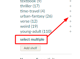 Users can sort their rated books using more than one shelf (tag) at a time