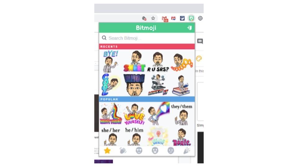 Once you create your avatar, Bitmoji puts it into lots of fun situations, which you can drag and drop into all your documents, presentations, websites, etc.