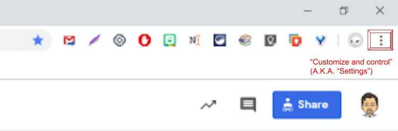 "Chrome web browser's ""triple dot"" menu provides access to hidden extensions."