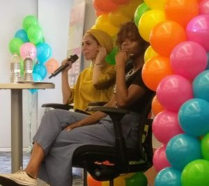 Tahereh Mafi (left), author of the _Shatter Me_ series
