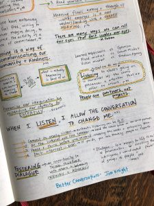 "Sample page of the author's notebook - highlighting quotes from Jim Knight's book ""Better Conversations"""