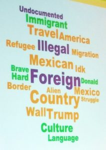 Word map of students' responses about US immigrants before hearing Green Card Voices stories