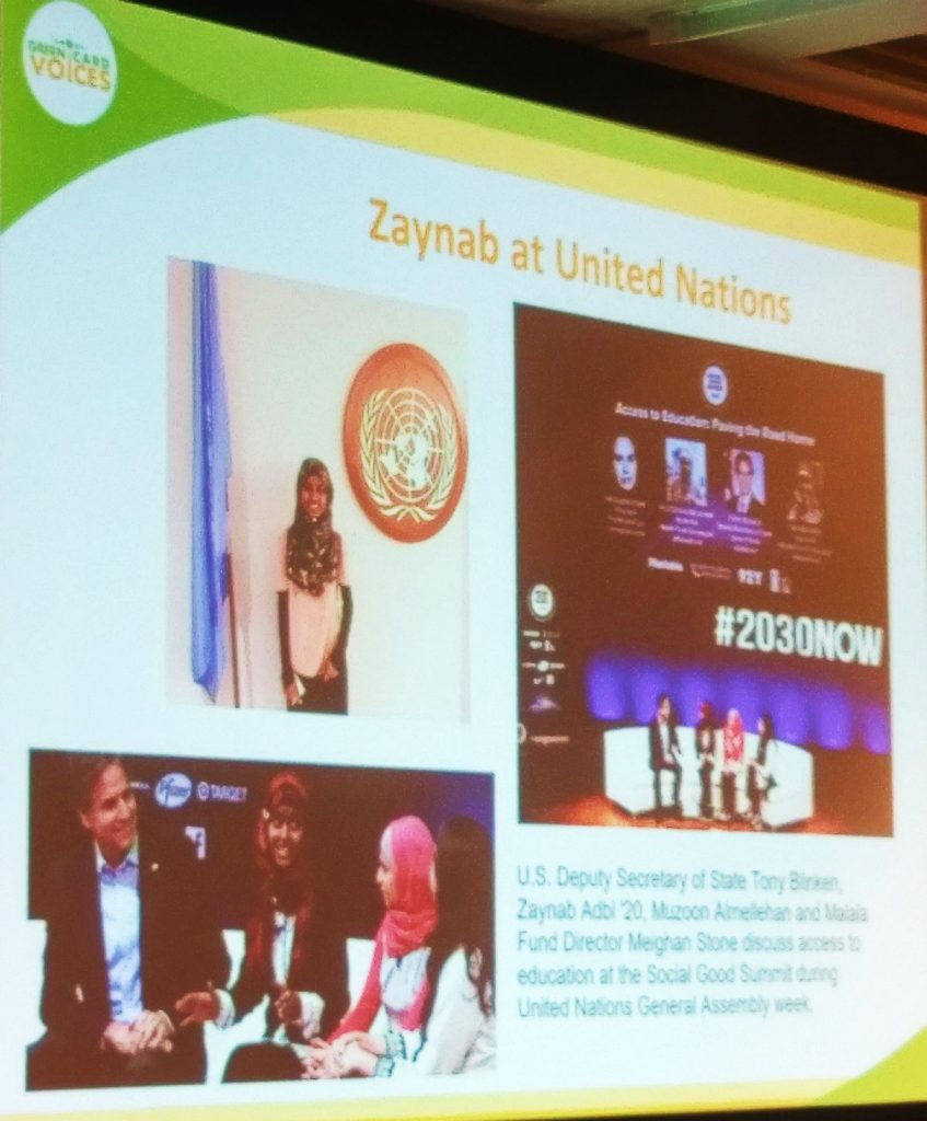 Zaynab Adbi at the United Nations as part of a panel that included US Deputy Secretary of State Tony Blinken, Muzoon Almellehan, and Meighan Stone