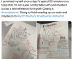 A Twitter post shows a sketchnote of the parts of a heart. The text explains that the poster will share a doodle of something new she learned.