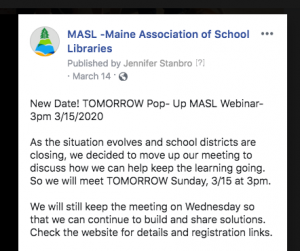 Text from a Facebook post publicizing MASL virtual meet-up