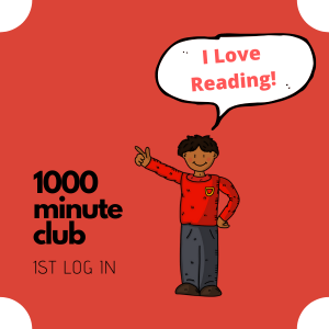 Badge for 1000 minute club. Made on Canva. Picture from Pixabay.