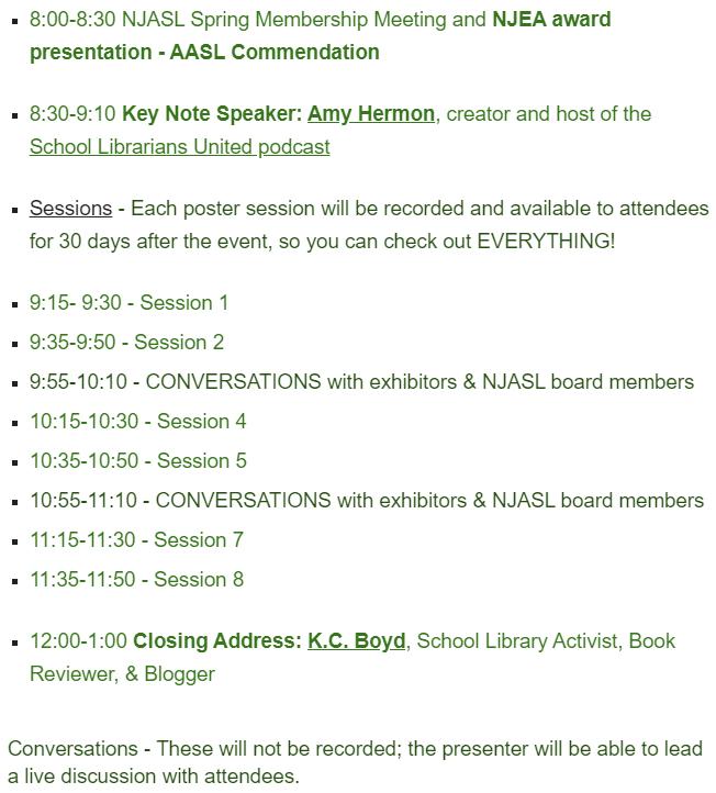 Schedule for #NJASLSpring21 Mini-Conference