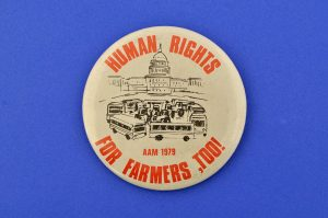 Human Rights for Farmers Protest Pin