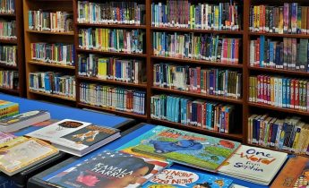 """An image of the Northridge Elementary School Library (Fair Oaks, CA), which offers """"over 6,000 books and magazines for...students to choose from."""""""