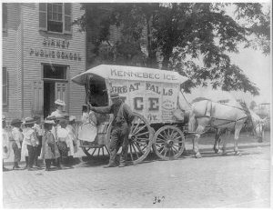 Ice horse-drawn wagon