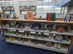 a picture of a book display with book pairings positioned next to each other